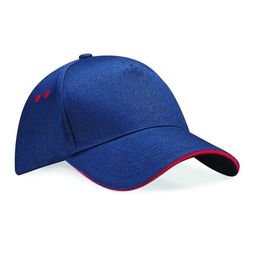Afbeelding van Ultimate 5 Panel Cap with Sandwich Peak, French Navy/Classic Red, ONE, Beechfield